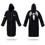 Spiderman Black and Silver Hooded Cotton Bathrobe
