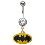 Batman Navel Ring w/Logo Dangle Charm