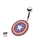 Captain America Multi-Gem CZ Shield Navel Ring