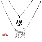 Captain Marvel Goose the Cat Stainless Steel 2-Tiered Necklace