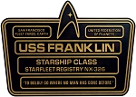 Star Trek Dedication Plaque - U.S.S. Franklin NX-326