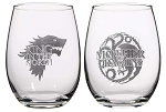 Game of Thrones 16oz Stemless Wine Glass Set - Mother of Dragons & King of the North