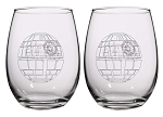 Star Wars Death Star 16oz Stemless Wine Glasses - Set of 2