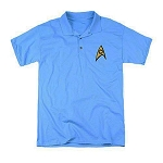 Star Trek Embroidered Science Symbol Sky Blue Polo Shirt