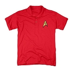 Star Trek Embroidered Engineering Symbol Red Polo Shirt