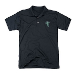 Lord of the Rings Embroidered Leaf Black Polo Shirt