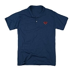 Superman Embroidered Man of Steel Symbol Navy Blue Polo Shirt