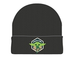 "Star Wars The Mandalorian The Child ""Snack Time"" Patch Black Cuff Beanie"