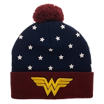 Wonder Woman Stars & Embroidered Logo Red & Blue Cuff Pom Beanie
