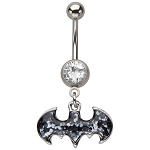 Batman Cut Logo Dangle Charm with CZ Navel Ring