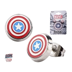 Captain America Round Shield Stud Earrings