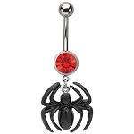Spiderman Navel Ring w/Spider Dangle Charm