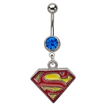 Superman Navel Ring w/Red & Yellow