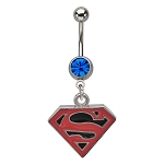 Superman Navel Ring w/Red & Black