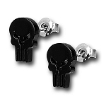 Punisher Black Skull Stud Earrings