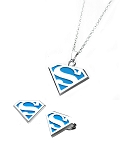 "Supergirl Blue ""S"" Shield Pendant Necklace & Stud Earring Set"