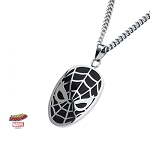 Spiderman Stainless Steel Black Mask Pendant with 24