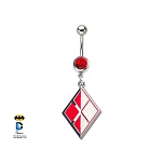 Harley Quinn Navel Ring w/Red CZ Gem and Diamond Logo Dangle Charm