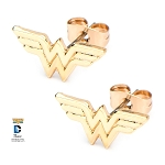 Wonder Woman Gold PVD Plated Logo Stud Earrings