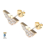 Wonder Woman Gold PVD Plated Logo Stud Earrings with Clear CZ