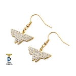 Wonder Woman Stainless Steel Gold PVD Plated Clear CZ Hook Dangle Earrings