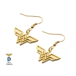 Wonder Woman Stainless Steel Gold Plated Hook Dangle Earrings