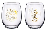 Disney's Tinkerbell 16oz Stemless Wine Glasses - Set of 2